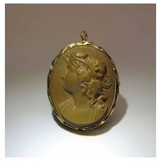 Antique High Relief Chocolate Brown Lava Cameo Pendant Brooch
