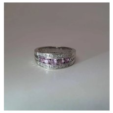 Lovely Vintage 14K White Gold Pink Sapphire And Diamond Ring