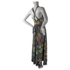 Strappy Late 1930's Floral Printed Rayon Sundress