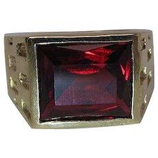 Art Deco Era 10K Yellow Gold 7 Carat Created Ruby Men's / Unisex Ring