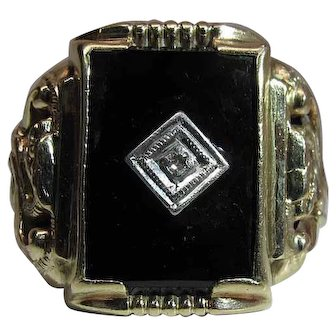 Art Deco Era 10K Yellow Gold Onyx & Diamond Dragon Ring Signed PSCO