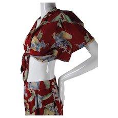 1930's Vintage 2 Piece Printed Rayon Beach Pajamas