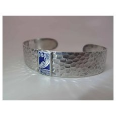 1933 Hammered & Enameled Sterling Silver Chicago World's Fair Cuff Bracelet