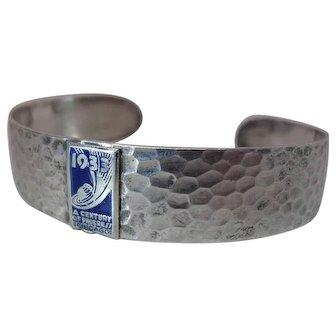 1933 Hammered & Enameled Sterling Silver Chicago World's Fair Cuff Bracelet