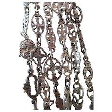 Antique 46-Inch Sterling Silver Renaissance Revival Guard Chain Necklace