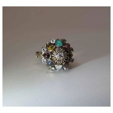 Vintage 14K Gold Mixed Natural Gemstone Moghul / Harem Ring