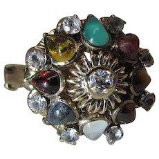 Vintage 14K Gold Mixed Natural Gemstone Moghul / Harem Ring