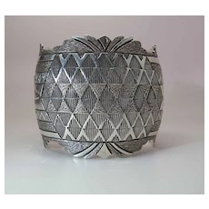 T & G Segura Carved & Hand Stamped Sterling Silver Cuff Bracelet