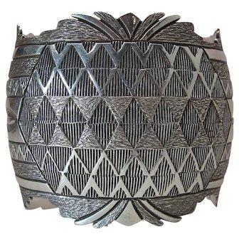 T & G Segura Carved & Hand Stamped Sterling Silver Cuff Bracelet