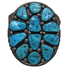 Vintage Justin Morris Navajo Silver & Turquoise Buckle