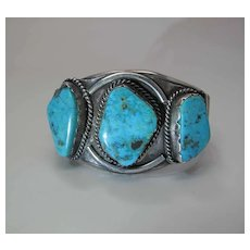 Vintage Navajo Silver And Turquoise Cuff Bracelet