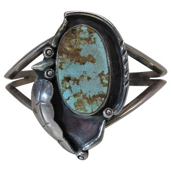 Vintage Herbert Taylor Navajo Silver And Turquoise Cuff Bracelet