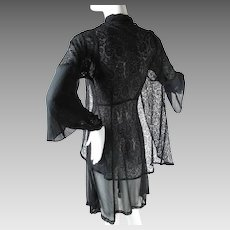 1930's Vintage Black Silk Chiffon And Lace Dress And Jacket Ensemble