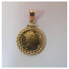 Queen Elizabeth II 24K Gold Coin Pendant / Charm In 14K Gold Mounting