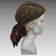 "1970's Vintage ""Suzy"" Jeweled & Gold Tinsel-Shot Paisley Bandana / Head Scarf"