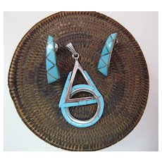 Signed Zuni Silver And Inlaid Turquoise Pendant And Earrings Set