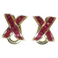 Sumptuous 18K Yellow Gold 1.7 Carat Natural Ruby Omega Clip Earrings