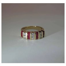 Fine Maine Estate 14K Yellow Gold Natural Ruby And Diamond Ring