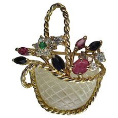 Charming Vintage 14K Gold Mixed Gemstone Giardinetti Flower Basket Pendant / Brooch