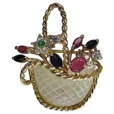 Charming Vintage 14K Gold Mixed Gemstone Giardinetti Flower Basket Pendant / Brooch