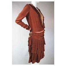 Flouncy 1920's Art Deco Vintage Beautifully Draped Silk Dress