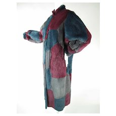 Luscious Vintage Dyed Rabbit Patchwork Coat