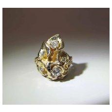 Sumptuous Art Nouveau 14K Yellow Gold Old Cut Diamond Cocktail Ring