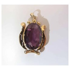 Lovely Maine Estate 18K Gold 20 Carat Synthetic Sapphire Pendant