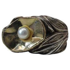 Wonderful Art Nouveau Silver And Gold Cocktail Ring With Cultured Pearl