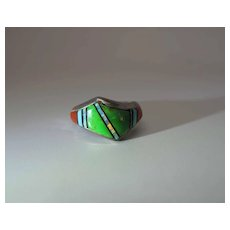Fine Vintage Zuni Stone To Stone Inlaid Sterling Silver Ring