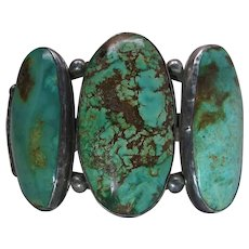 Outstanding Heavy Navajo Sterling Silver And Fine Turquoise Cuff Bracelet