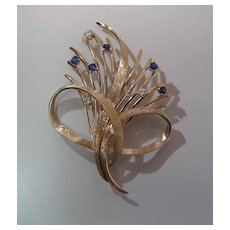 1960's Vintage 14K Yellow Gold Sapphire And Diamond Brooch