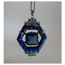 High Style French Art Deco Art Glass And Paste Pendant Necklace