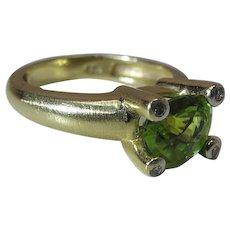 14K Yellow Gold Rose Cut Green Peridot And Diamond Ring