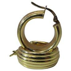 Vintage 18K Yellow Gold Hinged Post Hoop Earrings