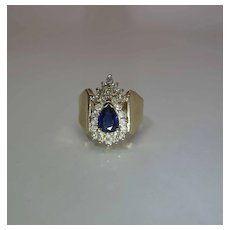 Vintage 14K Yellow Gold Natural Pear Sapphire And Diamond Cocktail Ring Signed BH
