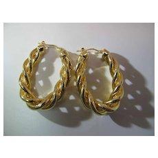 Vintage 14K Gold 1 1/2 Inch Heavy Twisted Hoop Earrings Signed Milor