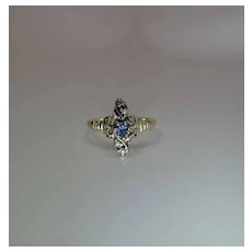 Antique Victorian 14K Gold Sapphire, Rose Cut Diamond And Pearl Ring