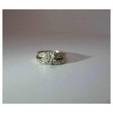 Retro Era 14K Gold Diamond Wedding Ring Set