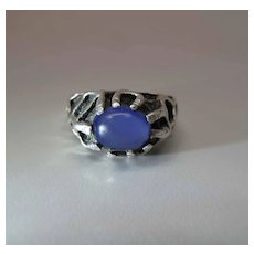 Vintage Sterling Silver And Blue Chalcedony Brutalist / Modernist Ring