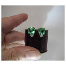 Striking 10K Gold 2.25 / 4.50 Carat Green Synthetic Sapphire And Diamond Post Earrings