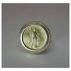 14K Gold Ring With 1986 22K Gold American Eagle Coin