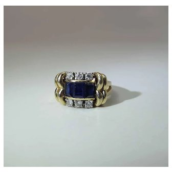 Circa 1940 Art Moderne 14K Yellow Gold Natural Blue Sapphire And Diamond Cocktail Ring