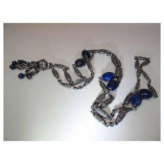 1930's Art Deco Gustav Hauber 37 1/2 Inch 800 Silver Guard Chain Tassel Necklace