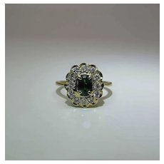 Vintage 18K Yellow Gold Green Tourmaline And Diamond Halo Cluster Ring