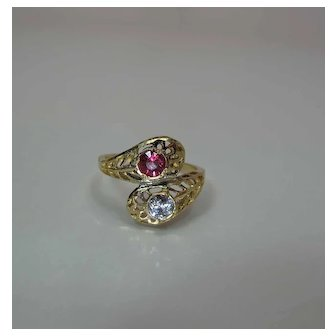 Antique 14K Yellow Gold Natural Ruby And Diamond Snake Ring
