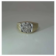 1960's Vintage Men's / Unisex 14K Yellow Gold .75 Carat Diamond Cluster Ring