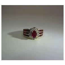Sumptuous 14K Yellow Gold Natural Ruby And Diamond Halo Cluster Ring