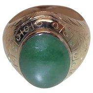 Fine Antique Victorian 14K Gold 7 Carat Jadeite Men's Ring