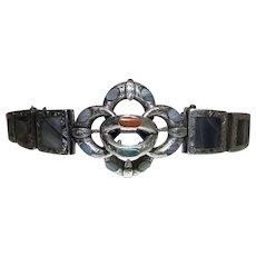 Fine Antique Scottish Victorian Silver Pebble / Banded Agate Bracelet
